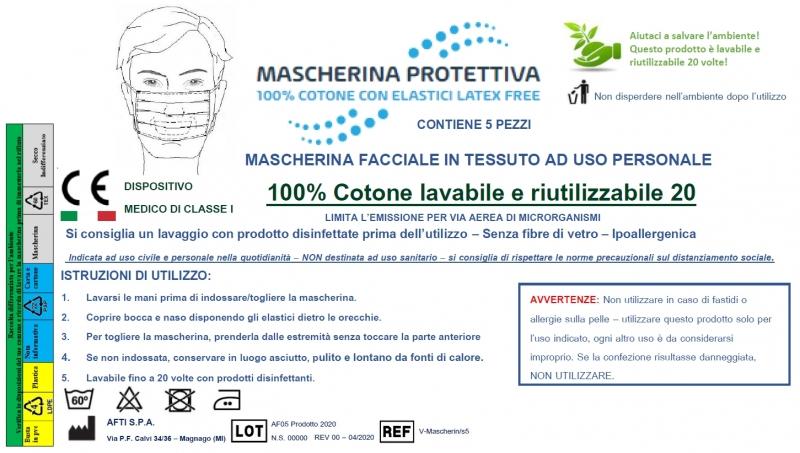 MASCHERINA RIUTILIZZABILE PACK 100